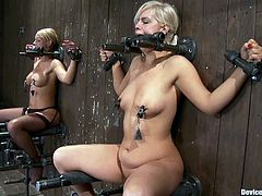Two blonde girls get tied up to the wall. Their masters come up and start to drill their pussies with big dildos.