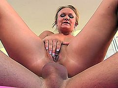 Katie Gold has been divorced and says she thinks she'll stay single forever because her sex life is swingin'! This horny mature blonde has been fucking just about every dick in town and loves to take a ride multiple times per day. She loved getting her pussy stretched around this meaty shaft.