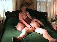 This mature slut loves cock and she wants to make that dude horny with blowjob before he destroy her vag on that big bed and cum on her.