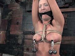 This smoking hot and lusty babe gets tortured the ways he hadn't been. Her master ties her up so that she gets numb and then the pussy penetration starts.