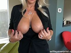 Beautiful blonde MILF, Wifey seduced the repariman and started deepthroating his big schlong. He was rock hard and she took some banging from behind too...
