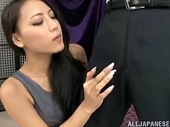 Man, she is such a delicious and stunning babe! Honey takes a huge cock in her hands and her gentle hands make him moan. Koi Azumi is her name!