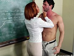 Lucky student dude is seduced by sexy MILF Veronica Avluv in college room. Guy lies on the teacher's desk all naked while Veronica deepthroats his big cock.