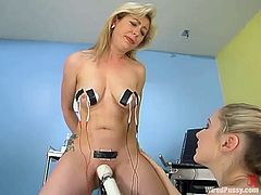 Adrianna Nicole is getting toyed and tortured with other kinky devices in this BDSM lesbian video packed with naughty action.