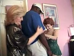 Insatiable old bitches Gigi and Kitty Foxx are having fun with some black stud indoors. They suck his BBV hungrily and then jump on it by turns.