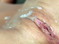 After having her shaved twat slamed perfectly, naughty Kennedy Leigh gets creamed