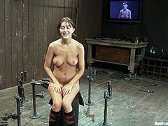 Naughty brunette girl sits on the floor being bounded and gagged. Some guy fixes claws to her nipples and toys her hot pussy.