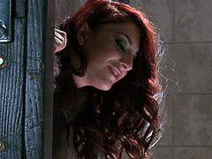 Voracious redhead beauty with juicy ass is ironed in pillory totally naked gets her asshole stuffed with buttt plug. Whore gets free and starts greedily sucking her master's big dick.