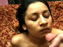 Salacious brunette milf Tina is playing dirty games with two studs indoors. She sucks the dudes' boners greedily and then gets her bushy snatch pounded deep and hard.