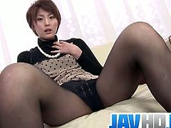 Saori is a horny Japanese MILF and she is off work today. She decided to have some solo fun and spreads legs to toy her tight pussy for a screaming orgasm.