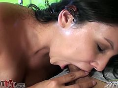 Chubby Latina with huge boobs gets toyed with a vibrator. Later on she gives a blowjob and fondles her pussy.
