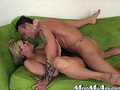 Tifanny Rayne is a sex freak and she definitely knows the meaning of hardcore sex. She climbs on top of her lover and fucks him silly in this position. A bit later he fucks her juicy pussy from behind.