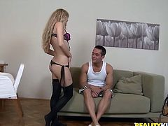 Hot blonde girl in lace lingerie and stockings gives hot blowjob. Then she lies down on a sofa and gets her pussy licked. After that this hottie gets pounded in a bedroom.