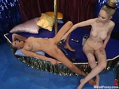 These two kinky stripper chicks are having some BDSM fantasies at work. So Audrey plays with Chanta-Rose's pussy and then bangs her with a huge strapon!