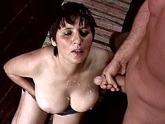 Nice wicked cumshot for this mature amateur being worked over with cock. She is ready to blow and her pussy takes that cock so good