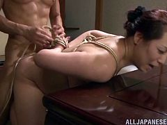 Horny Japanese milf Neko Ayami makes out with some guy and allows him to rub her natural boobs and juicy pussy. Then the man drills the hottie's cunt from behind and they both enjoy it much.