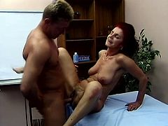This redhead granny fucks every man she can. This dude couldn't resist her sex appetites and gives her big boner to suck and make it hard for screwing her beaver