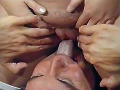 Three well stacked blonde bitches lie in beds wearing tight stockings while three horny guys lick their delicious soaking cunts making their bitches reach orgasm.
