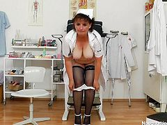 Filthy nurse whore Marsa has some time to spare and because she worked so hard during the day, she decided to relax in this break. Nothing relaxes her more then a kinky masturbation so Marsa begins to undress and gapes her pussy. She gives us a hot view of her snatch while gaping it. What a whore!