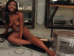 This ebony honey had been dreaming about a nice penetration and a fucking machine is going to make it to her. Roses is such a fetish loving stunner.