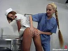 Katja takes her sexy uniform off and then get tied up by Chanta-Rose. Later on Katja gets whipped and then toyed by the fucking machine.