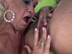 Check out steamy lesbian fisting video by 21 Sextury studios! Fat granny pulls her fat legs up while petite light haired babe brutally fist fucks her soaking wet loose hairy snatch.