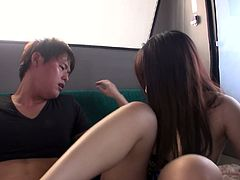 Divine Japanese girl with big ass and heavy natural tits rides her coed's dick in public bus. Asian beauty gets fucked doggystyle exposing her dirty asshole and jiggly butt.