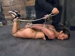 Petite brunette babe with pigtails gets toyed in bondage video