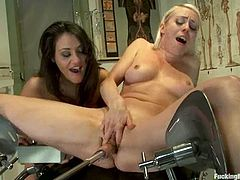 Two sassy and amazing chicks are having a filthy lesbian sex, sharing that genius invention - a fucking machine. Cherry and Lorelei loved it so bad!