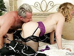 Nina Hartley satisfies her sexual needs with dudes love stick in her mouth