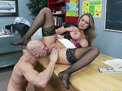 Watch this busty and sexy babe getting banged in her wet and tight pussy by her friend in her office in Brazzers Network sex clips.