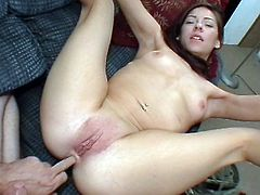 Petite brunette girl strips the clothes off and gives a blowjob. Then she gets her pussy toyed and ass fingered. Later on she gets fucked in a missionary position.