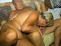 Chunky grandma lies in bed all alone fucking her hairy snapper with dildo. She gives blowjob sucking old dick and gets her old fetid snatch licked.
