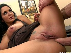 Raven haired curvy cougar Ava Addams screams with pain and joy while big young dick drills her tight butthole on her side from behind.