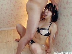 Her Japanese pussy is so fucking wet, when she sees that dick! Babe takes it in her mouth to suck. But then he takes a domination and fucks her face.