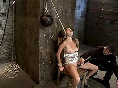 What a slender and hot sex slave Mae Meyers is! She gets tied up and honey can't make a single move, as it is quite painful!