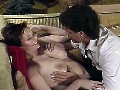 Curvy black haired Asian hottie gets her snapper fucked missionary style right on the table. Blonde hussy also gets her coochie banged and takes load of cum on her tits.