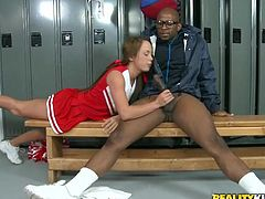 Get a load of this interracial scene where Haley Sweet takes her coach's big black cock up her tight asshole in the locker room.