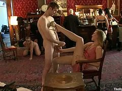 Naughty whores in hot BDSM party. Girls get humiliated by their masters. They get whipped, gagged and tied up.
