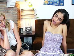 Watch them horny and sexy babes eating each others wet and tight pussies in their bedroom in Team Skeet sex clips.