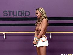 Juicy big tittied babes Bree Olson takes pole dance lessons. She rubs her massive boobs and her juicy butt all over that metal pole and exposes her tight hairy quim.