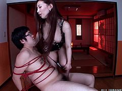 So, she tied him up on the chair and there is no possible way of escaping her fantasies. She is going to torture him so damn hard!