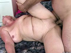 This fat lady is a sex freak. Seriously, she loves to fuck. She climbs on top of her lover and fucks him hard in this position. Then he fucks her hard in missionary position.