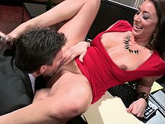 Watch this horny and sexy babe getting her tight and wet pussy fucked by her boss on her table in Wicked sex clips.