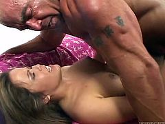 Check out this hot scene where this horny babe has her bush combed before this guy drills it and cums all over it.