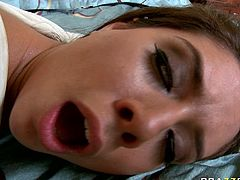 Bald headed guy fucks pussy and rims ass hole of palatable brunette Jynx Maze