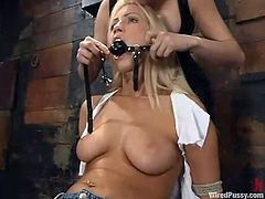 Cute blonde Cassie gets bound by a dominant person in a basement. Then the mistress attaches wires to Cassie's awesome tits and makes the girl ride a fucking machine.