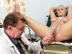 Insolent Alexa Bold opens her legs for needy doc during gyno exam