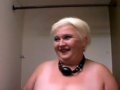 Fat blonde granny Andrea pleases some dude with a blowjob. Then the guy drives his boner into Andrea's swollen pussy and fucks it doggy style and in missionary position.