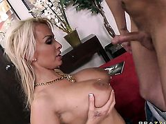 Holly Halston with huge breasts is ready to suck Sonny Hickss rock solid tool day and night